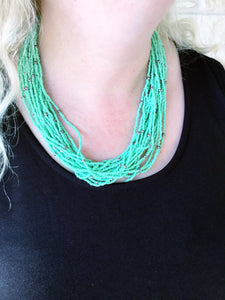 Beaded Statement Necklace - Lime Sherbet