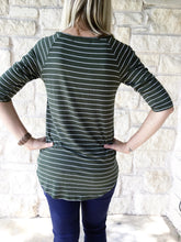 So Basic Olive Stripe Tee