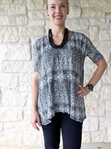 Textured Geo Top - Black/Ivory