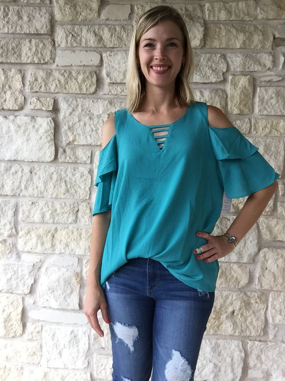 Turquoise Cold Shoulder Top