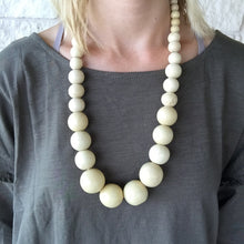Creamy Wooden Bead Necklace