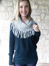 Grey/White Funnel Neck Scarf