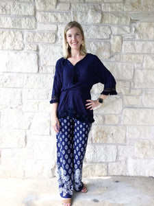 The Everything Palazzo Pants - Navy/Cream