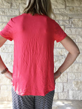 Slouchy V-Neck Tee - Coral