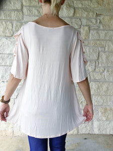 Romance Flutter Sleeve Top - Peach