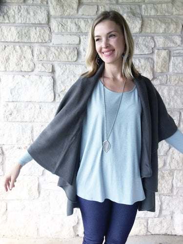 Olive Waterfall Cape Vest