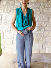 The Everything Palazzo Pants - Turquoise/White