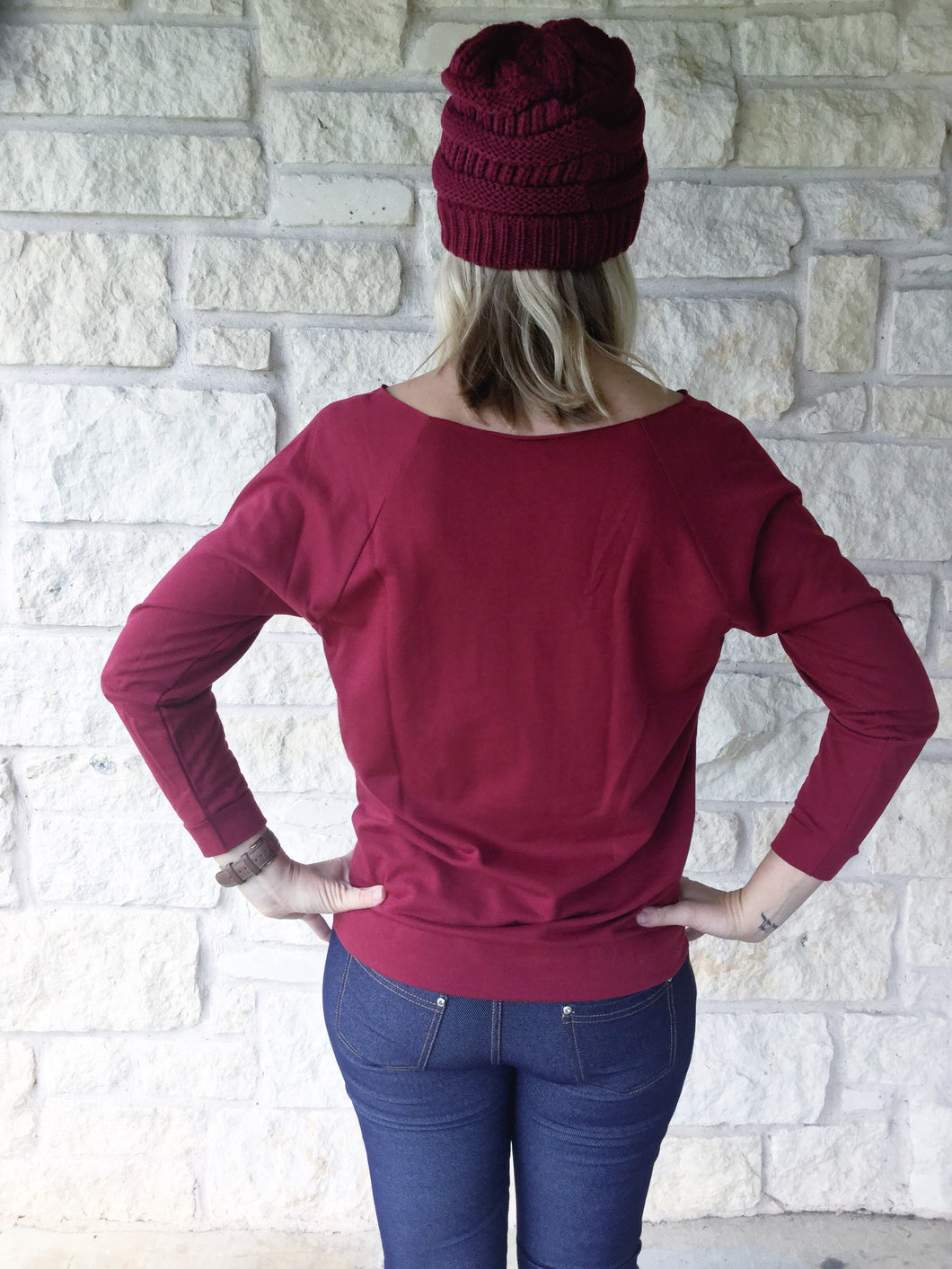 Thankful Distressed Sweater Cranberry