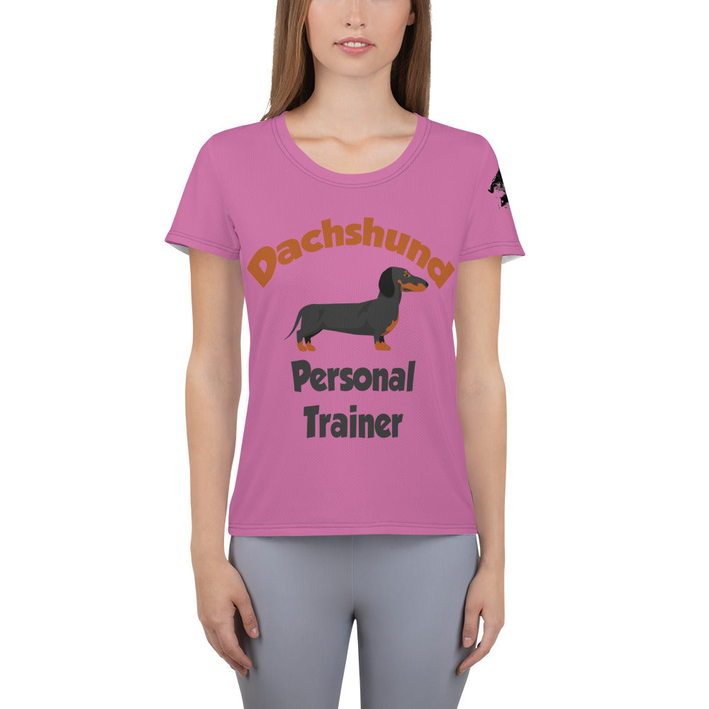 Women's Athletic T-shirt, personal trainer-Dachshund-Local Webstore