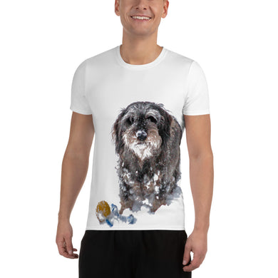 Men's Athletic T-shirt, wire-haired dachshund-Dachshund-Local Webstore