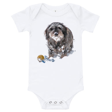 Baby Bodysuit, dachshund with ball - Local Web Store - [product type] Collection