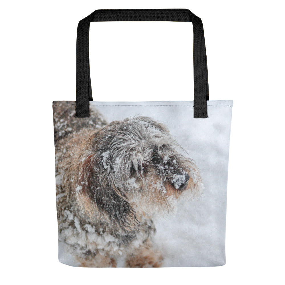 Tote Bag, dachshund in snow-Dachshund-Local Webstore