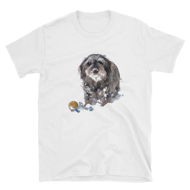 Bargain T-Shirt, dachshund with a ball in snow-Dachshund-Local Webstore