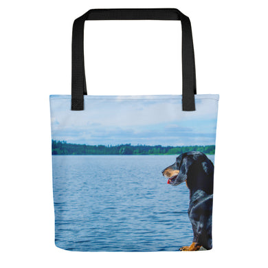Tote Bag, dachshund looking at lake - Local Web Store - [product type] Collection