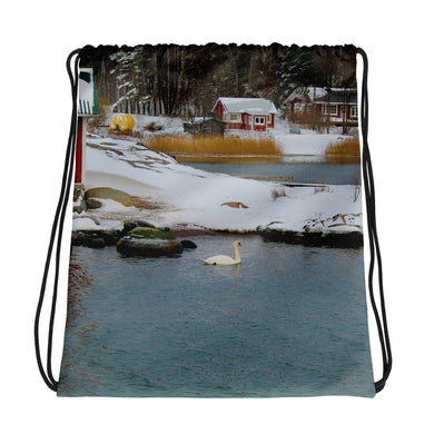 Drawstring Bag, swan in wintery archipelago-Marine-Local Webstore