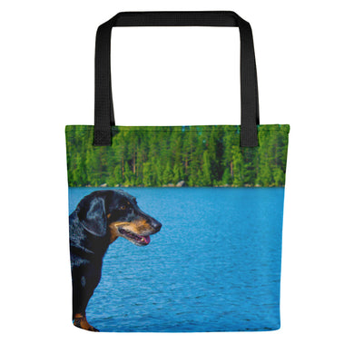 Tote Bag, dachshund looking at lake-Dachshund-Local Webstore