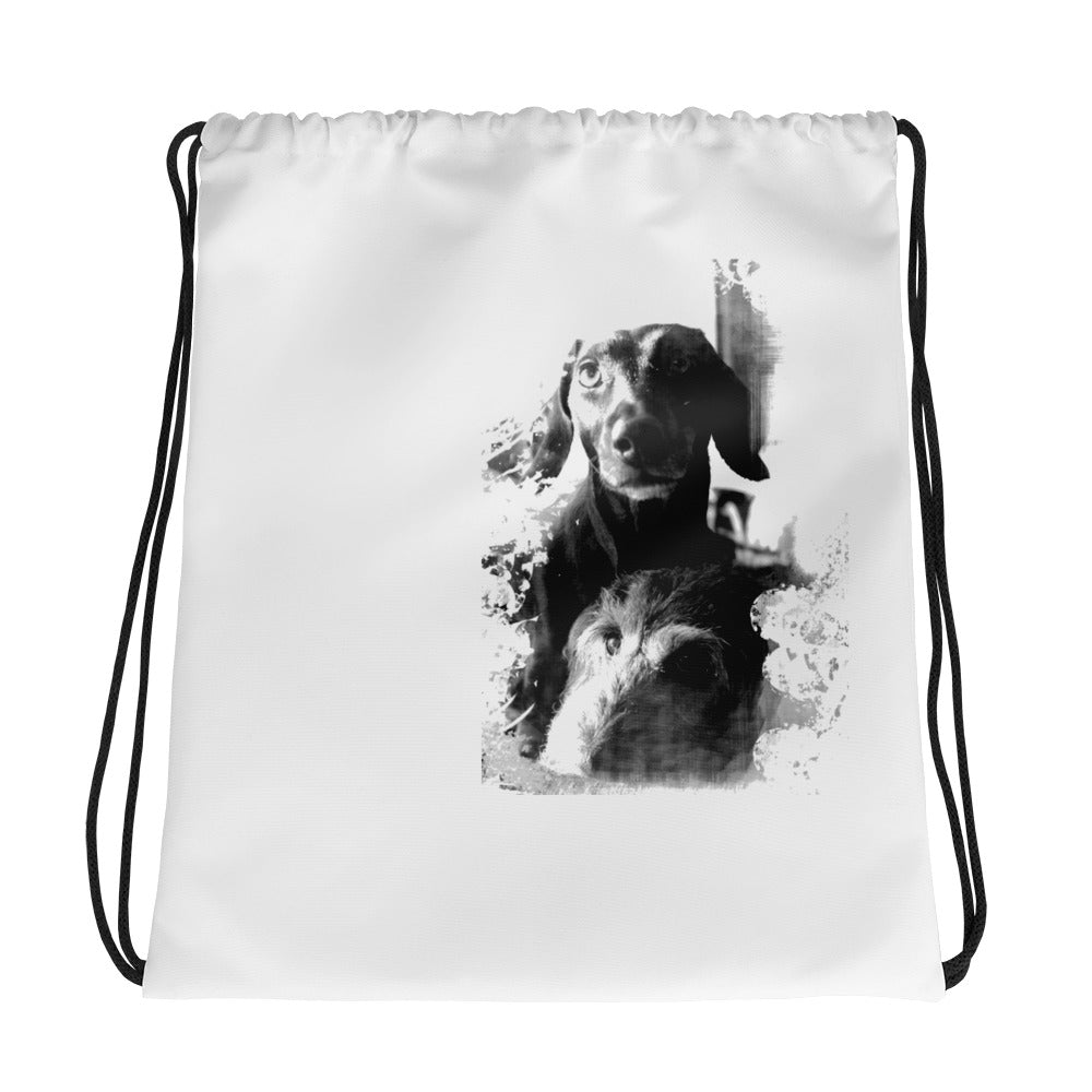 Drawstring Bag, two dachshunds-Dachshund-Local Webstore