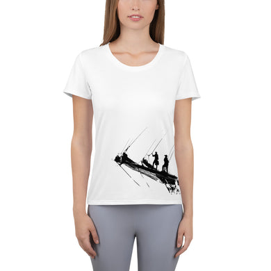 Women's Athletic T-shirt, tall ship bow-Marine-Local Webstore