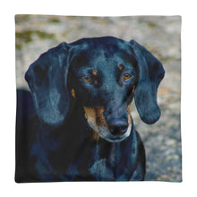 Load image into Gallery viewer, Premium Pillow Case, black dachshund close-up-Dachshund-Local Webstore