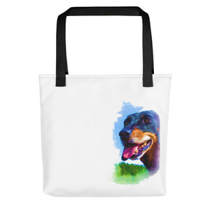 Tote Bag, black dachshund-Dachshund-Local Webstore