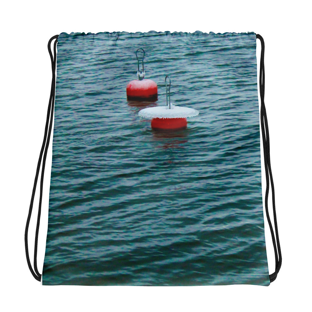 Drawstring Bag, wintery mooring buoys-Marine-Local Webstore