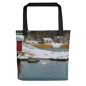 Tote Bag, swan in winter archipelago-Marine-Local Webstore