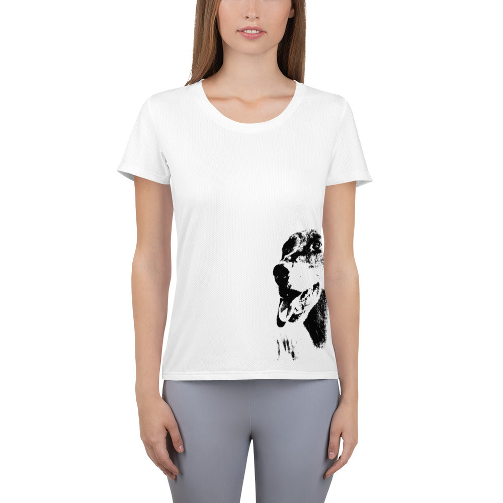 Women's Athletic T-shirt, dachshund-Dachshund-Local Webstore
