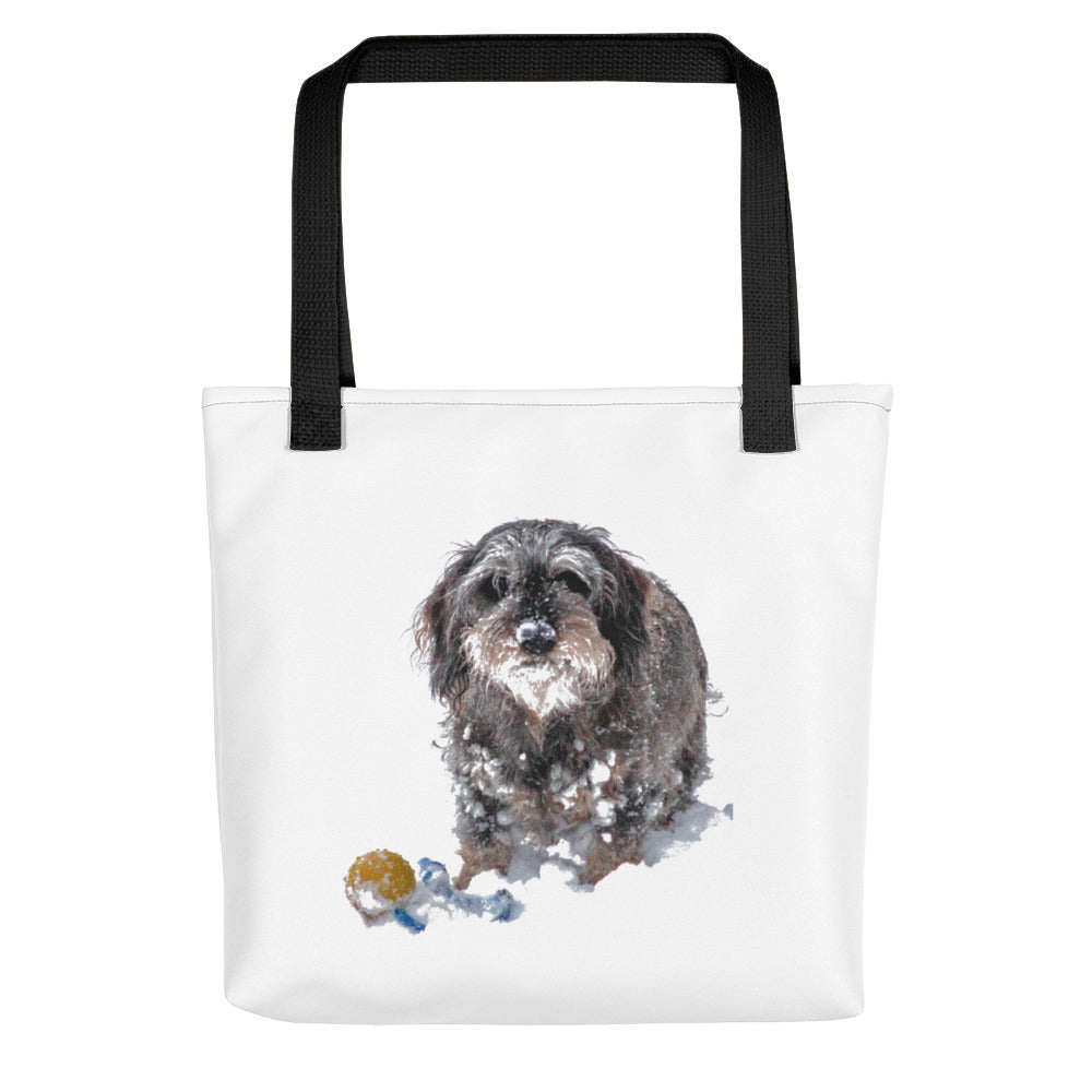 Tote Bag, dachshund with ball in snow-Dachshund-Local Webstore