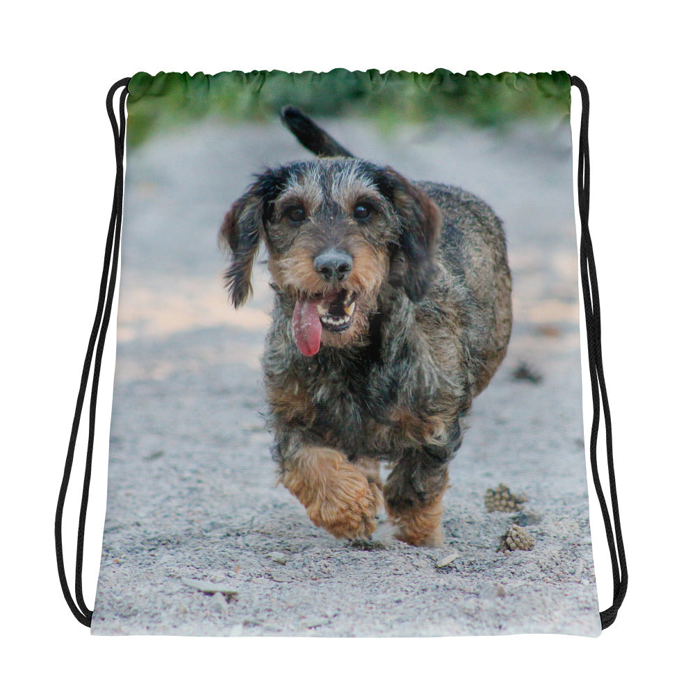 Drawstring Bag, running dachshund-Dachshund-Local Webstore