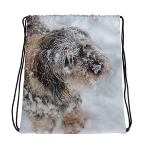 Drawstring Bag, dachshund in winter-Dachshund-Local Webstore