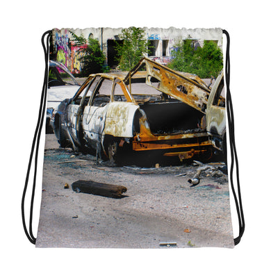 Drawstring Bag, burnt cars-Freedom-Local Webstore
