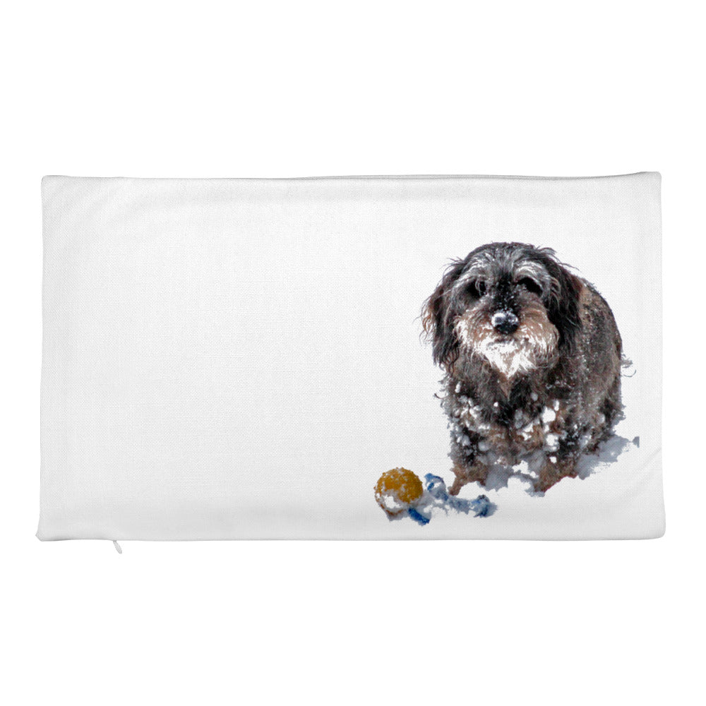 Premium Pillow Case, dachshund with ball in snow-Dachshund-Local Webstore