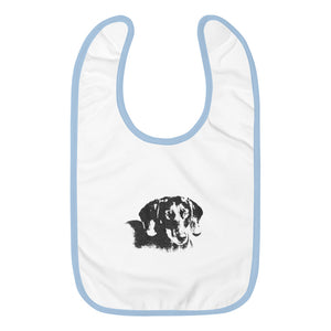 Embroidered Baby Bib, dachshund-Dachshund-Local Webstore