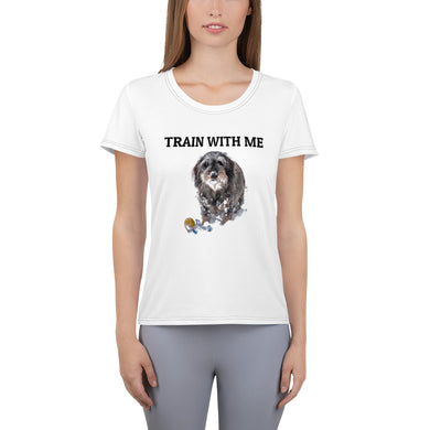 Women's Athletic T-shirt, train with me-Dachshund-Local Webstore