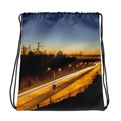 Drawstring Bag, highway at night - Local Web Store - [product type] Collection
