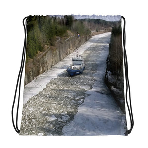 Drawstring Bag, wintery shipping canal-Marine-Local Webstore