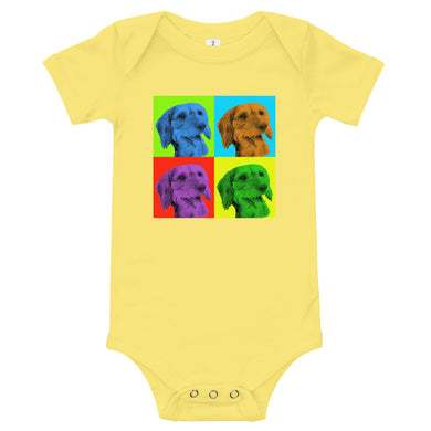 Baby bodysuit, Andy Warhol dachshund-Dachshund-Local Webstore