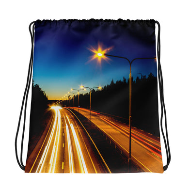 Drawstring Bag, highway at night-Freedom-Local Webstore