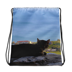 Drawstring Bag, resting cat-Marine-Local Webstore
