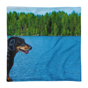 Premium Pillow Case, dachshund by water-Dachshund-Local Webstore