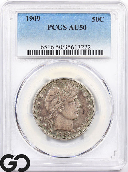1909 PCGS AU 50 Capped Bust Half Dollar Almost Uncirculated ** Collector Coin!