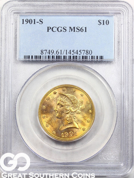 U.S. Gold, $10 Liberty Gold Eagle PCGS MS 61 ** Random Dates