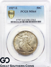 1927-S Walking Liberty Half Dollar PCGS MS 64 ** Tough Key Date, Original Toner!