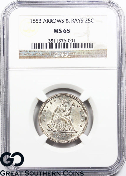 1853 Seated Liberty Quarter, Arrows & Rays MS 65 ** Blast White, Razor Sharp!