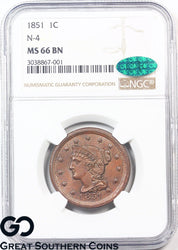 1851 Large Cent, Braided Hair, N-4, NGC MS 66 ** CAC Certified, Super Sharp, PQ!