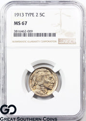 1913 Buffalo Nickel NGC MS 67 ** Type 2, Brilliant Luster, PQ Better Date!