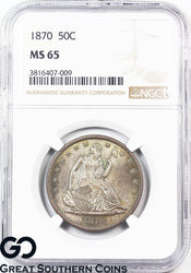 1870 Seated Liberty Half Dollar NGC MS 65 * Rare This Nice, Few Finer, Key Date!