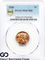 1926 PCGS Lincoln Cent Wheat Penny, RED, MS 67 RD ** Blazer, Premium Quality!