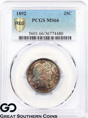 1892 PCGS Barber Quarter MS 66 ** Rainbow Toner, Razor Sharp, Free Shipping!