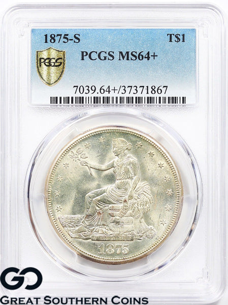 1875-S PCGS Trade Dollar MS 64+ ** Tough This Nice, Lustrous Beauty, Plus!